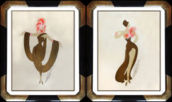 Erte Original Gouache Painting Set Costume Fashion Dress Design Signed Art Deco
