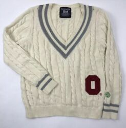 Alma Mater Ohio State Buckeyes Cable Knit Sweater V-nek Gray Womenand039s S Small 80
