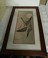 Japanese Ink Painting Of Geese In Flight Antique Early19th Century Framed Signed