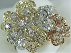 Large Pave Diamond 14kt White Y Rose Gold Double Flower Cocktail Ring R57544tp3