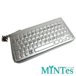 [CHANEL] keyboard design clutch pochette business bag Silver CHANEL