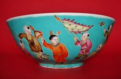 18th C. Qianlong Chinese Soft Blue-ground Porcelain Bowl W/ Children At Play