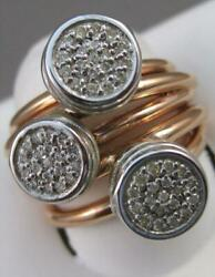 Modern Pave Diamond Circles 14k White Rose Gold Wide Wire Band Ring Italy Apr43