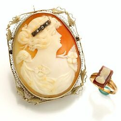 Vintage Cameo Brooch And Cameo Ring - Sold As Set