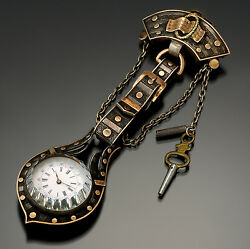 Rare Antique Swiss Watch with Buckle & Belt Design Chatelaine CA1870s