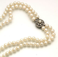 Fine 6 ½ - 7 ½mm Double Opera Cultured Pearl Necklace With Diamonds .32 Cts.