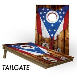 Slick Woodyand039s Ohio Flag 2and039 By 3and039 Lightweight Cornhole Board Set - Usa Made