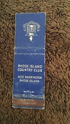 Vintage Matchbook Cover Matchcover Rhode Island Country Club West Barrington