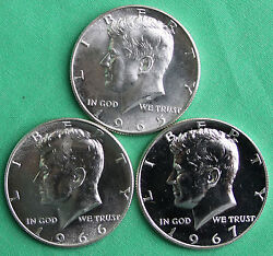 1965 1966 1967 Kennedy Half Dollars 40 Silver Special Mint Set Coins Sms Three