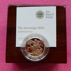 2016 Great Britain Gold Proof Full Sovereign Coin Box Coa Sealed - James Butler