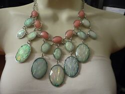 925 Vtg Costume Necklace Sign C Plastic Opal Like And Pink Stone Runway