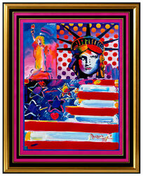 PETER MAX original signed PAINTING GOD BLESS AMERICA statue of Liberty HEAD USA