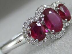 Estate Pave Diamond Ruby 18k White Gold 3 Stone Halo Cocktail Ring 9mm Rg9539wdr