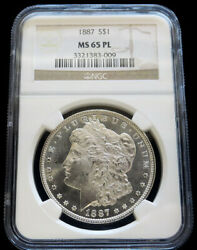 1887 Silver United States Morgan 1 Dollar Coin Ngc Mint State 65 Proof Like