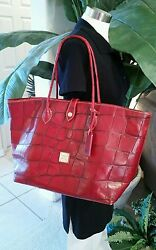 Dooney And Bourke Croco Red Leather Tote Bag Purse Large