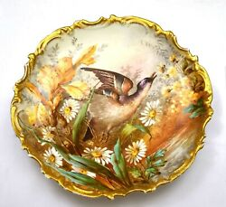 1920and039s Limoges Porcelain 13 Charger Wall Plaque Plate Wild Game Bird Mk Loeb