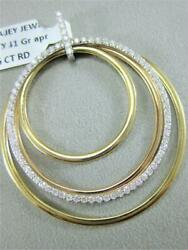 Modern Pave Diamond 14kt Wyr Rose Gold Hanging Ovals And Circle Pendant P59987tp1