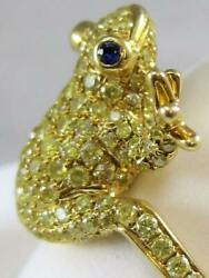 MODERN PAVE FANCY YELLOW DIAMOND SAPPHIRE 18K GOLD PUFF FROG COCKTAIL RING 110R6