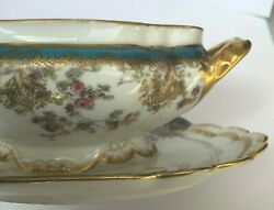 1888-1896 Haviland Limoge China Gravy Boat With Attached Plate/turquoise W/roses
