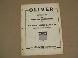 Oliver Setting Up No 316-a Tractor Gang Plow Owners Operators Manual Vintage