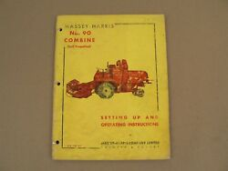 Massey Harris No 90 Combine Setting Up Operating Instructions Owners Manual 1953