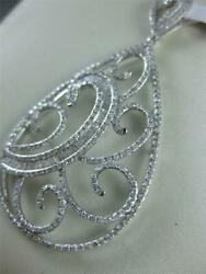 Large Fancy Pave Diamond 14k Gold Hanging Pear Swirl Cluster Pendant P47261wp-1
