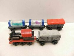 Thomas Train Lot Old Puffer Pete 2 Aquarium Cars And 2 Gigging Troublesome Trucks