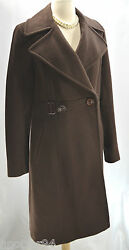 Dkny Donna Karan New York Double Breasted Coat Brown Wool Cashmere Long Jacket 8