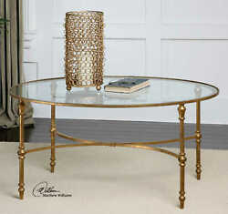 40 W Oval Coffee Table Gold Leaf Forged Iron Clear Tempered Glass Top