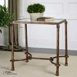 26 T Set Of 2 Bridle Side Table Forged Iron Curved Stretcher Tempered Glass