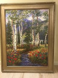 Large Painting Aspen Stream/beautifully Framed45 W X 57 Hsigned