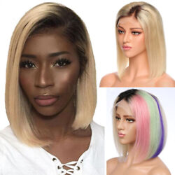 Ombre Brown Blonde Lace Front Wig Real Human Hair Full Wigs Dark Roots Bob Wig P