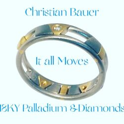 18k Yellow And Palladium Ring Moving Line Ring By Christian Bauer