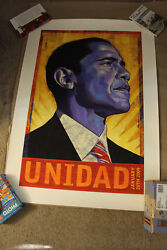 Barack Obama Unidad Print Signed And 12/500 Rafael Lopez Very Low Print Number