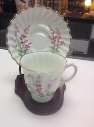 Vintage Royal Doulton Demitasse Bell Heather Cup And Saucer With Wood Stand