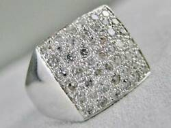 Modern Wide Pave Diamond 14k White Gold Band Square Cocktail Ring 14mm R12942wa