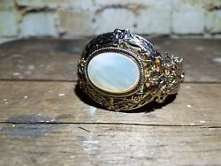 VINTAGE GOLD FILLED BRACELET: MOTHER OF PEARL: 40-50's ERA: BEAUTIFUL DETAIL