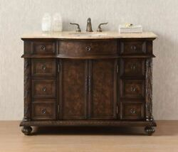 Bathroom Vanity Set 48 Inch Rustic With Ceramic Sink Cabinet Farmhouse Drawers