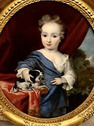 """Portrait Of A French Royal - Noble With A Dog 17th Century 38""""x34"""" Original Oil"""