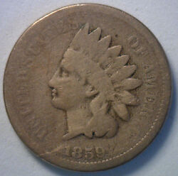 1859 Indian Head Copper Nickel Cent Penny Type Coin Good 1c Penny