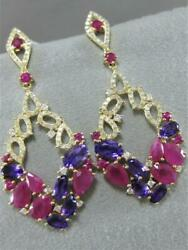 Large 7.65ctw Diamond Ruby Amethyst 14k Gold Marquise Cluster Earrings E57934yp1
