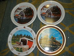 Lot Of 4 Tin Trays/plates Amish, Music Hall Of Tennessee, Corn Palace Sd