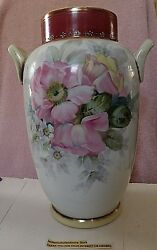 Nippon Vase 12 Tall Hand Painted Floral And Gold Gilt 2 Handle Vase Exquisite