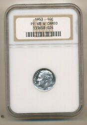 1953 Ngc Pf68 W Cameo Silver Proof Roosevelt Dime Pr68 Ngc Guide = 650