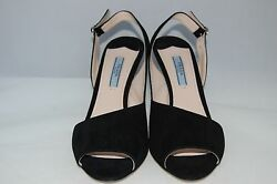 NIB PRADA Asymmetrical Black Suede Sling Sandals Heel Designer Shoes 7.5 US37.5 $265.00