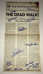 George Romero Day Of The Dead Cast Signed X13 Newspaper Poster Exact Proof