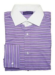 450 Purple Label Mens Dress Shirt French Cuff Striped Italy 15.5