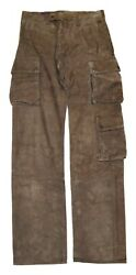 2195 Purple Label Mens Suede Leather Cargo Pants Italy Brown 32/34