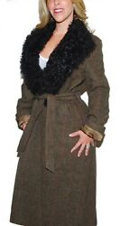 3898 Purple Label Wool Shearling Fur Trench Coat Brown Olive 10