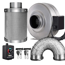 iPower 4 Inch 190 CFM Inline Fan Carbon Filter 8 Feet Ducting Combo with Speed